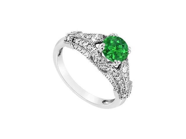 May Birthstone Created Emerald  CZ Filigree Engagement Rings in 14K White Gold 0.75 CT TGW