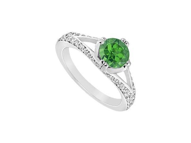May Birthstone Created Emerald   CZ Split Shank Engagement Rings in 14K White Gold 1 CT TGW