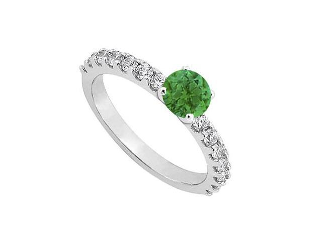 May Birthstone Emerald and Diamond Engagement Ring in 14K White Gold 1.00 CT TGW
