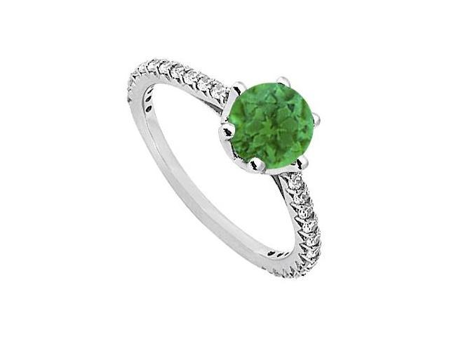 May Birthstone Emerald  Diamond Engagement Rings in 14K White Gold 1.33 CT TGW