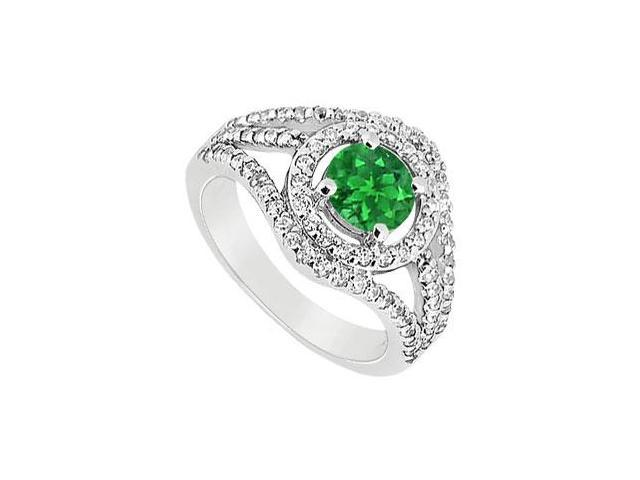 May Birthstone Created Emerald  CZ Split Shank Engagement Rings in 14K White Gold 1.25 CT TGW