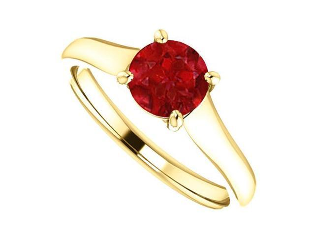 July Birthstone Created Ruby Engagement Rings in 14K Yellow Gold 1CT TGW