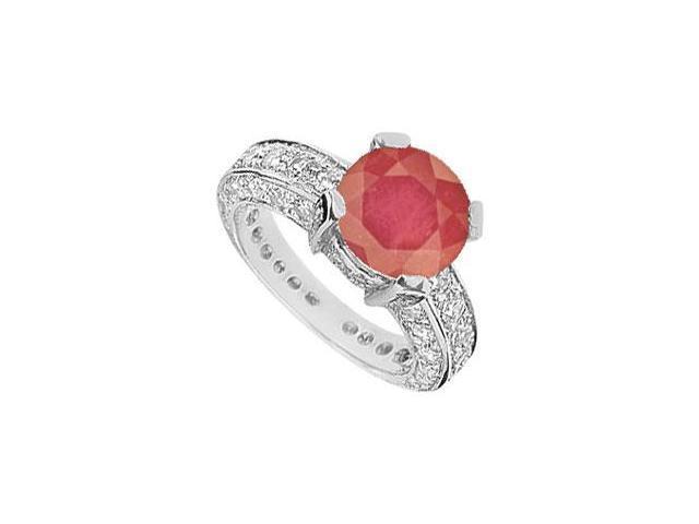Ruby and Diamond Ring  14K White Gold - 5..00 CT TGW