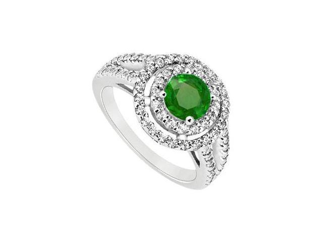 May Birthstone Created Emerald Halo Engagement Rings in 14K White Gold 1.25 CT TGW