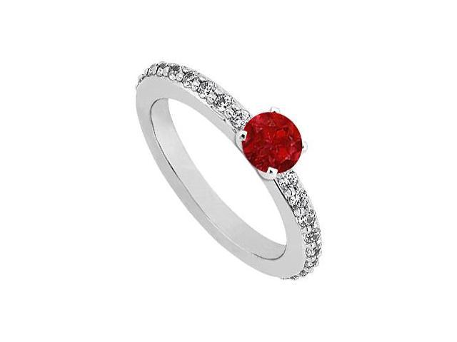 July Birthstone Ruby  Diamond Engagement Rings 14K White Gold 0.75 CT TGW