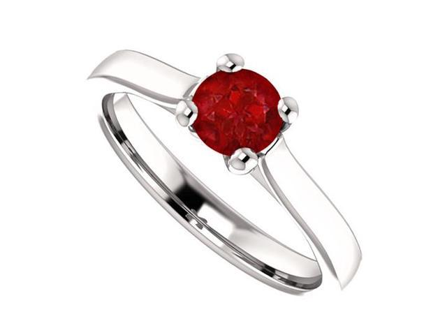 July Birthstone Ruby Engagement Rings in 14K White Gold 0.50 CT TGW
