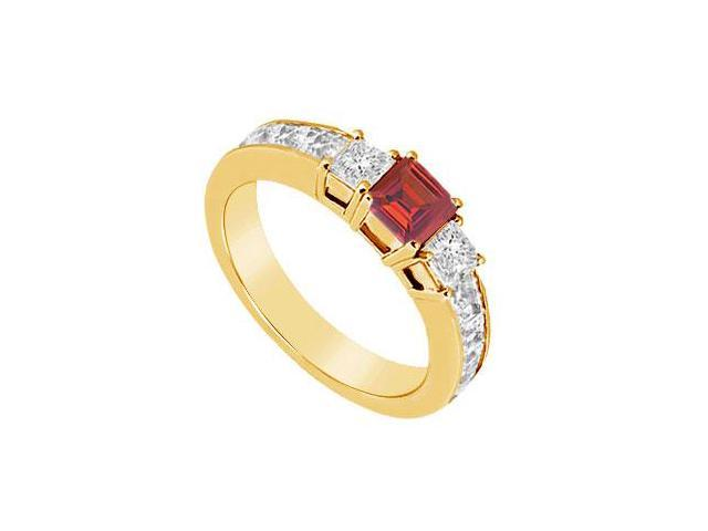 Ruby and Diamond Ring  14K Yellow Gold - 1.00 CT TGW