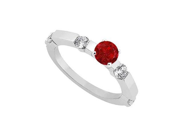 July Birthstone Ruby  Diamond Engagement Rings 14K White Gold 0.90 CT TGW