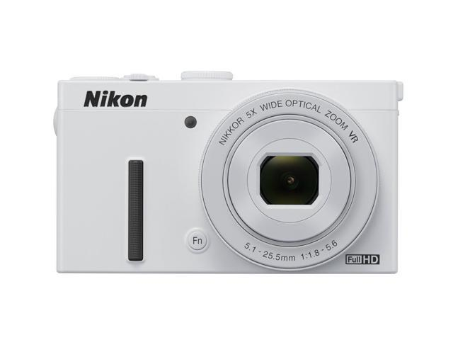 Nikon COOLPIX P340 12.2 MP 5X Optical Zoom 24mm Wide Angle Digital Camera - HDTV Output - White
