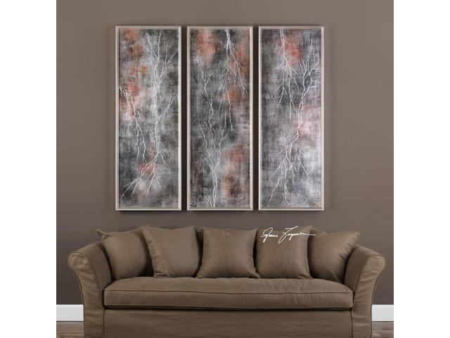 Uttermost Lightening Strikes Hand Painted Art - Set of 3