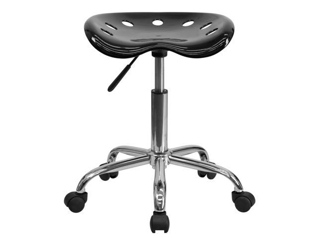 Flash Furniture Vibrant Black Tractor Seat and Chrome Stool [LF-214A-BLACK-GG]