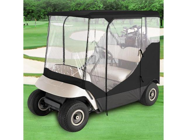NEH® WATERPROOF SUPERIOR BLACK AND TRANSPARENT GOLF CART COVER COVERS ENCLOSURE CLUB CAR, EZGO, YAMAHA, FITS MOST FOUR-PERSON GOLF CARTS