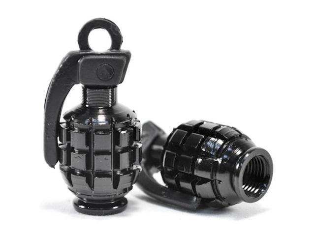 Pair of Black Motorcycle Tire Wheel Valve Stem Caps Grenade Fits Metric Cruisers, Sport Bikes, Choppers, Harley Davidsons, Suzuki, Honda, Kawasaki, Yamaha