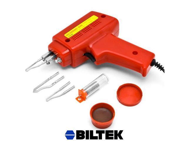Biltek® NEW 7pc Soldering Gun Kit w/Case Iron Solder 100W Professional Style Flux Solder