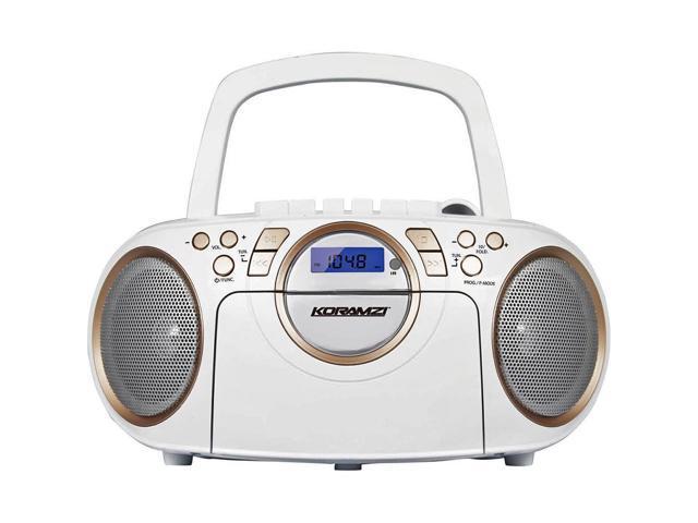 Koramzi Cdcwh Portable Cd Mp Usb Radio Cassette Recorder White Gold