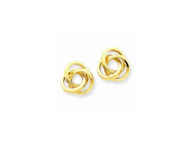 14k Yellow Gold Polished Love Knot Post Earrings (10MM Long x 10MM Wide)