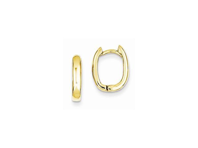 14k Yellow Gold Oval Hinged Hoop Huggie Earrings (0.4IN x 0.5IN )