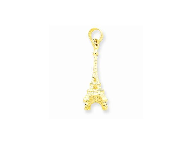14k Yellow Gold Solid Polished 3-D Eiffel Tower Pendant