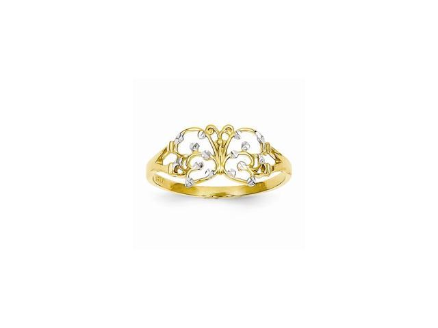 14K Yellow Gold and Rhodium Plated D/C Butterfly Ring