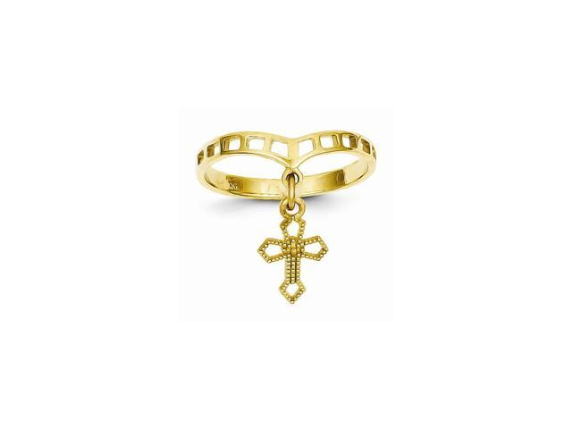 14k Yellow Gold Polished Cross Dangle Charm Ring