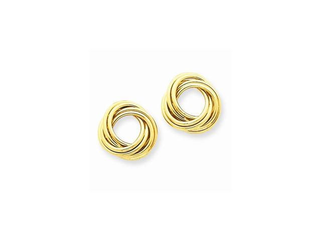 14k Yellow Gold Polished Love Knot Post Earrings (0.4IN x 0.4IN)