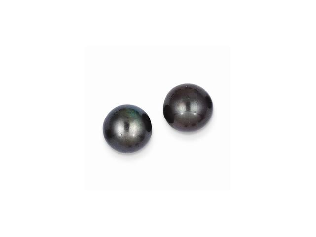 14k Yellow Gold 9-9.5mm Black Round Freshwater Cultured Pearl Stud Earrings.