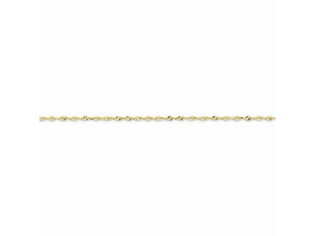10k Yellow Gold 8in 1.5mm D/C Extra-Lite Rope Chain Bracelet