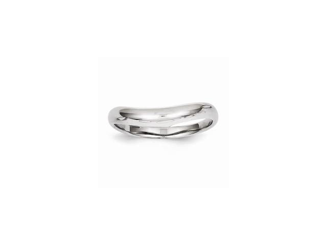 14k White Gold Polished Stackable Wave Ring