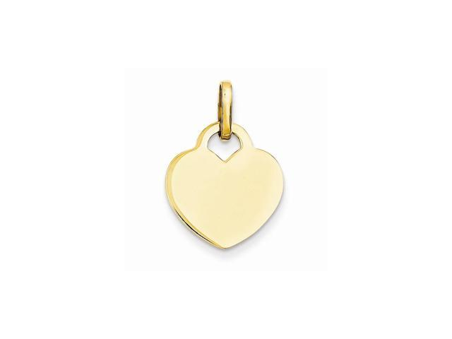 14k Yellow Gold Engravable Polished Heart Pendant