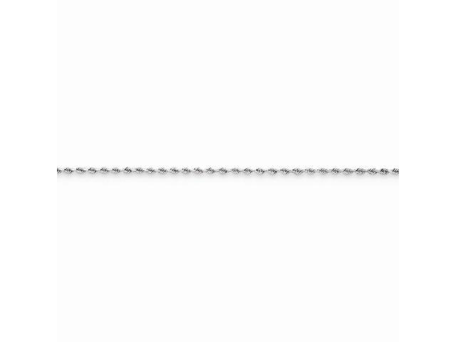 14k White Gold 9in 1.5mm Handmade D/C Rope Chain Bracelet