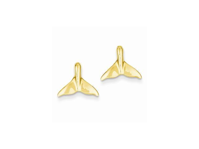 14k Yellow Gold Whale Tail Post Earrings (10MM Long x 12MM Wide)