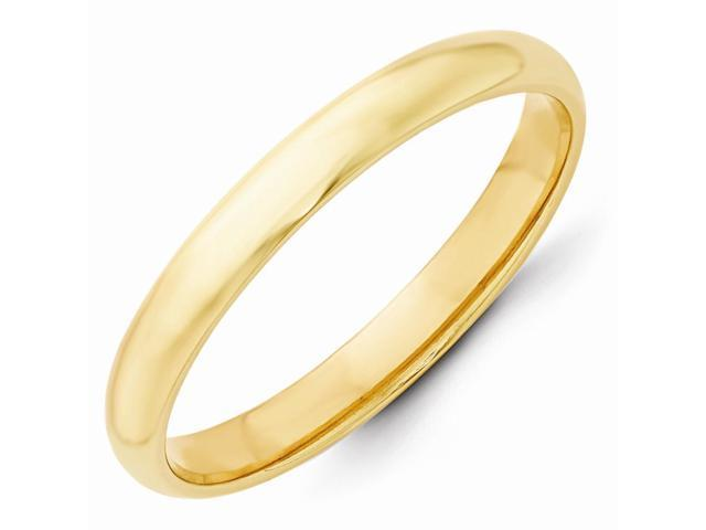 14k Yellow Gold Engravable 3mm Half-Round Wedding Band