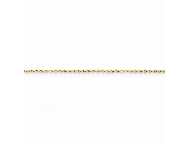 14k Yellow Gold 7in 1.5mm D/C Rope with Lobster Clasp Chain Bracelet
