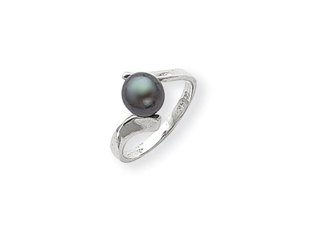 14k White Gold 7mm Black Freshwater Cultured Pearl Ring