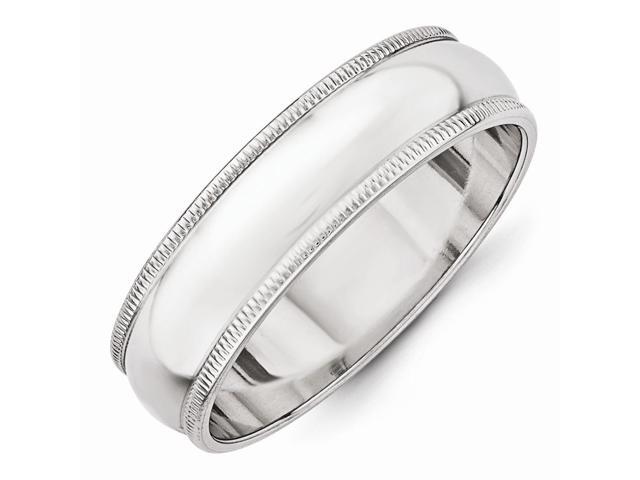 14k White Gold Engravable 6mm Milgrain Band