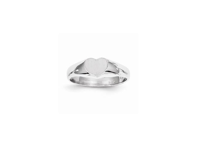 14k White Gold Engravable Signet Ring (5.7mm x 7mm face)
