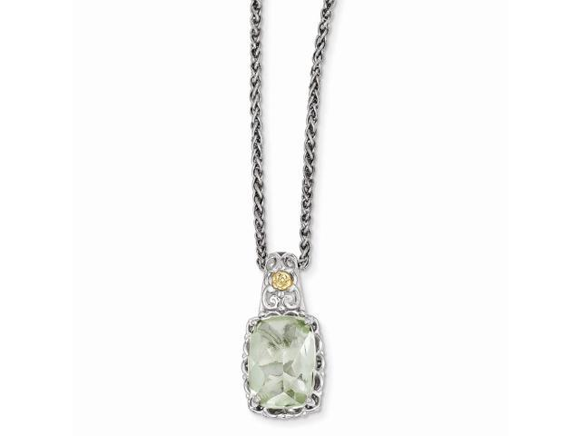 Sterling Silver w/ 14k Yellow Gold-Plated Green Quartz Vintage Style Necklace