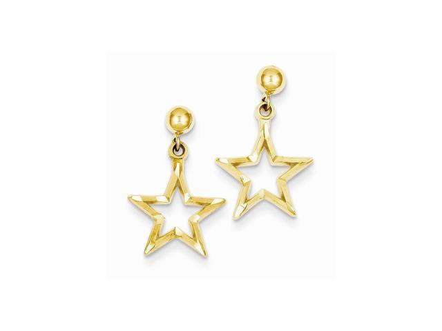 14k Yellow Gold Polished & D/C Star Dangle Post Earrings (0.8IN x 0.5IN )