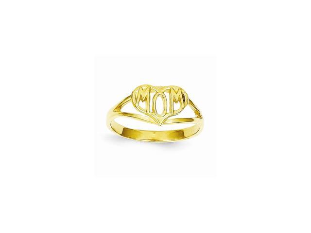 14k Yellow Gold Polished Mom Heart Ring