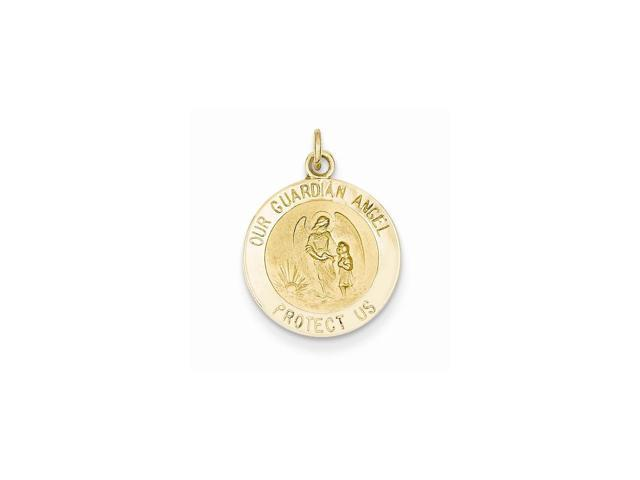 14k Yellow Gold Engravable Guardian Angel Medal Charm (0.8IN long x 0.6IN wide)