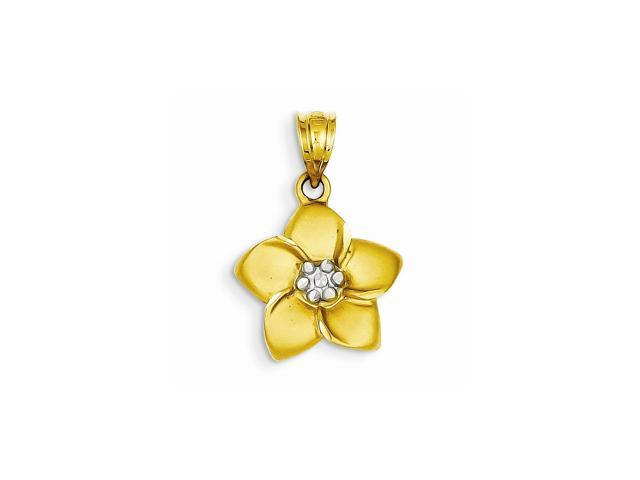 14k Yellow Gold & Rhodium Plated Satin Polished D/C Floral Pendant