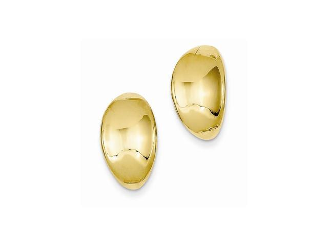 14k Yellow Gold Inverted Oval Button Earrings (0.6IN x 0.3IN)