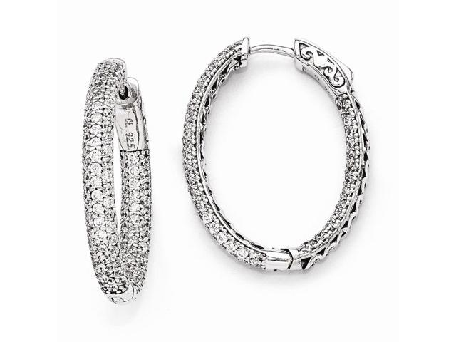 Sterling Silver Rhodium Plated 0.81 inch diameter Synthetic CZ Hoop Earrings