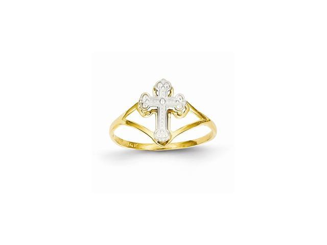 14k Two-Tone Gold Rhodium Plated Cross Ring