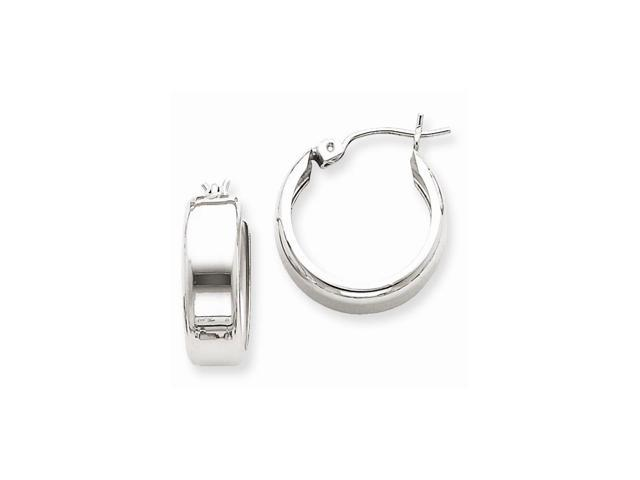 14k White Gold Fancy Hoop Earrings. Length 17mm x Width 11mm.