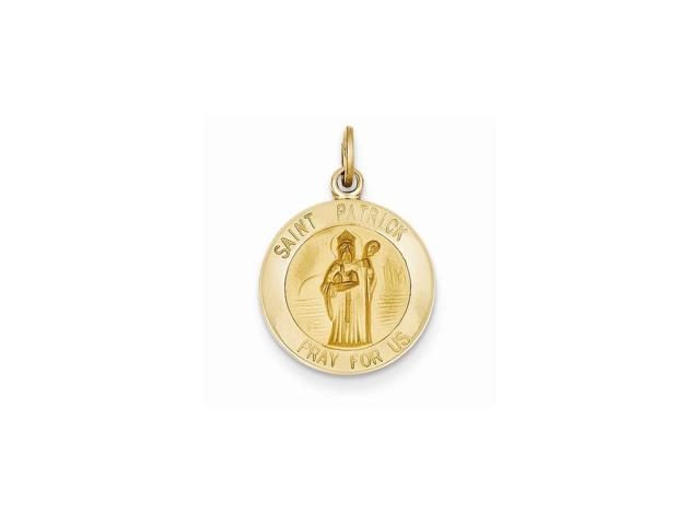 14k Yellow Gold Engravable Saint Patrick Medal Charm (0.9IN long x 0.6IN wide)