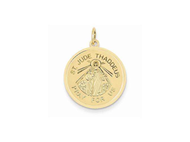 14k Yellow Gold Engravable Saint Jude Thaddeus Charm (1.1IN long x 0.8IN wide)