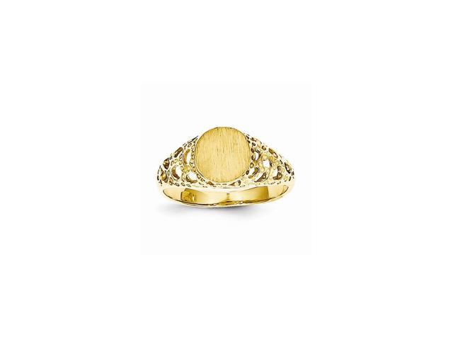 14k Yellow Gold Engravable Childs Fancy Signet Ring