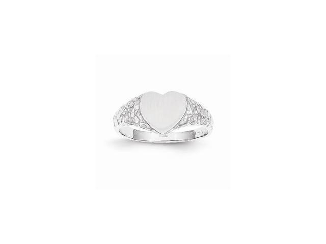 14k White Gold Engravable Signet Ring (8mm x 8.3mm face)