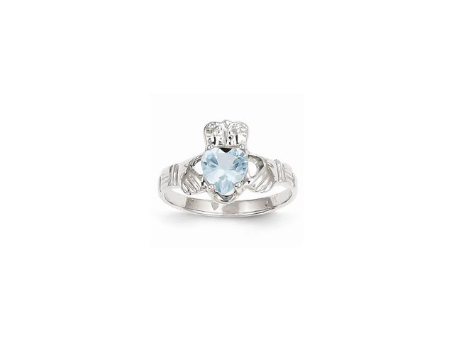 14k white gold march birthstone claddagh ring newegg